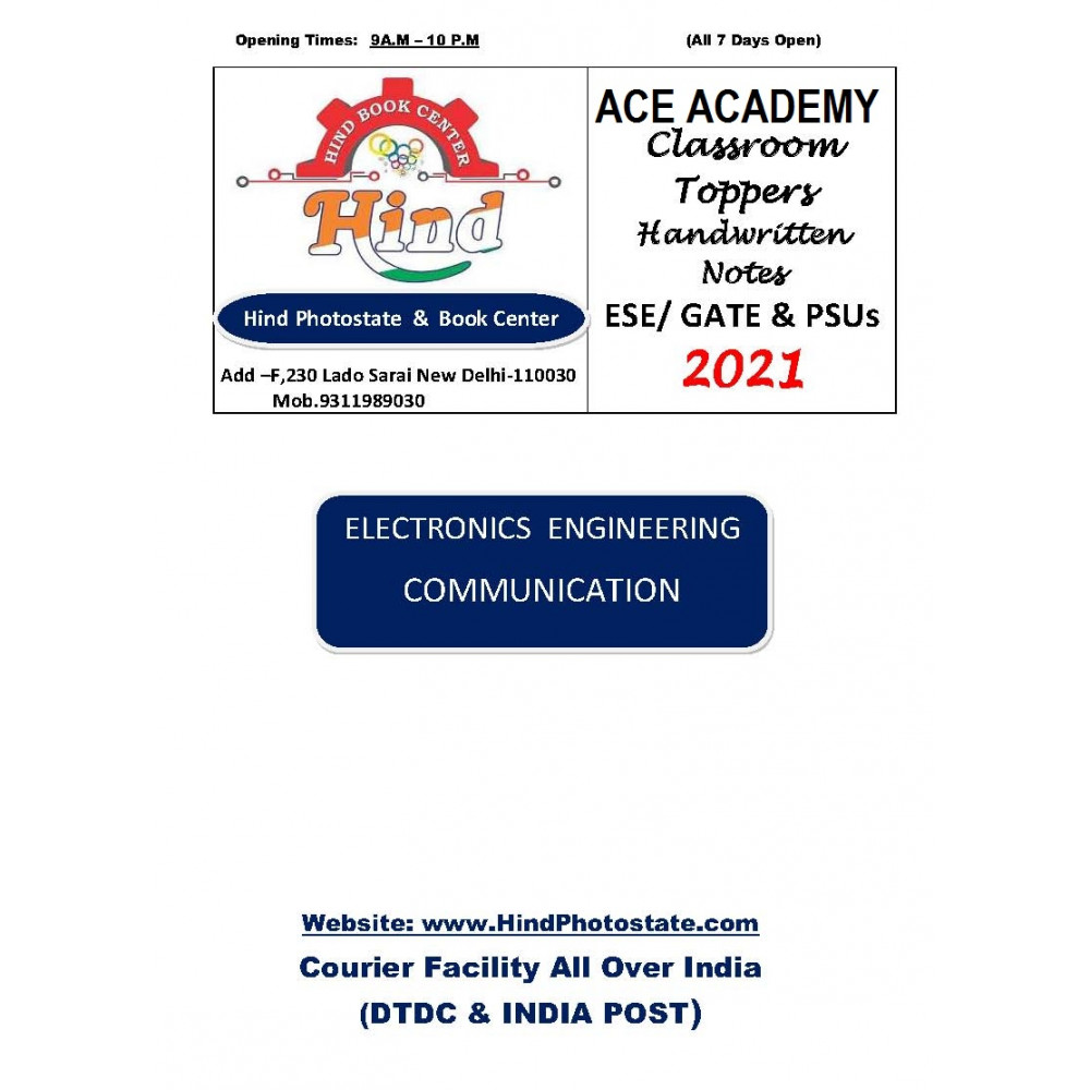 Electronics Engineering Handwritten Notes Communication System ACE ACADEMY
