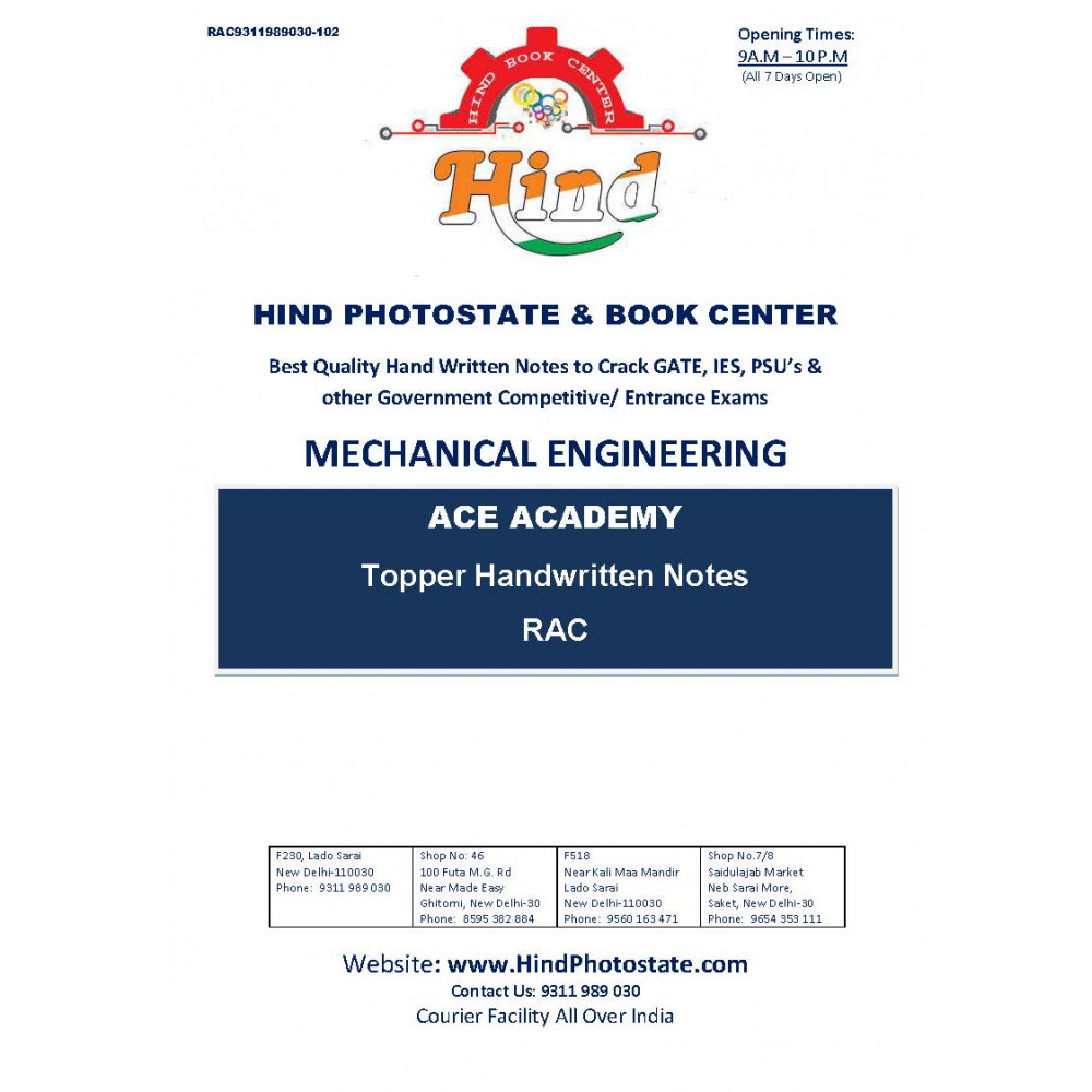 Mechanical Engineering Handwritten Notes : Refrigeration- Air Condition ACE ACADEMY