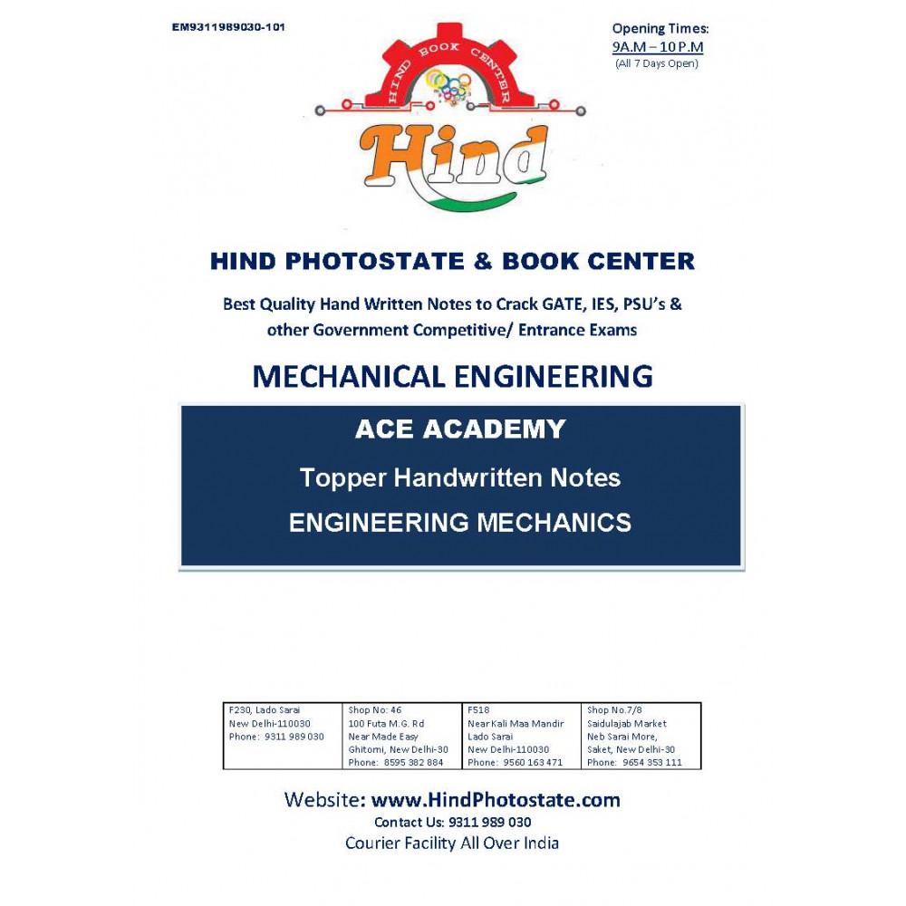 Mechanical Engineering Handwritten Notes : Engineering Mechanics ACE ACADEMY