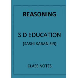 Reasoning S D Education Class notes english medium
