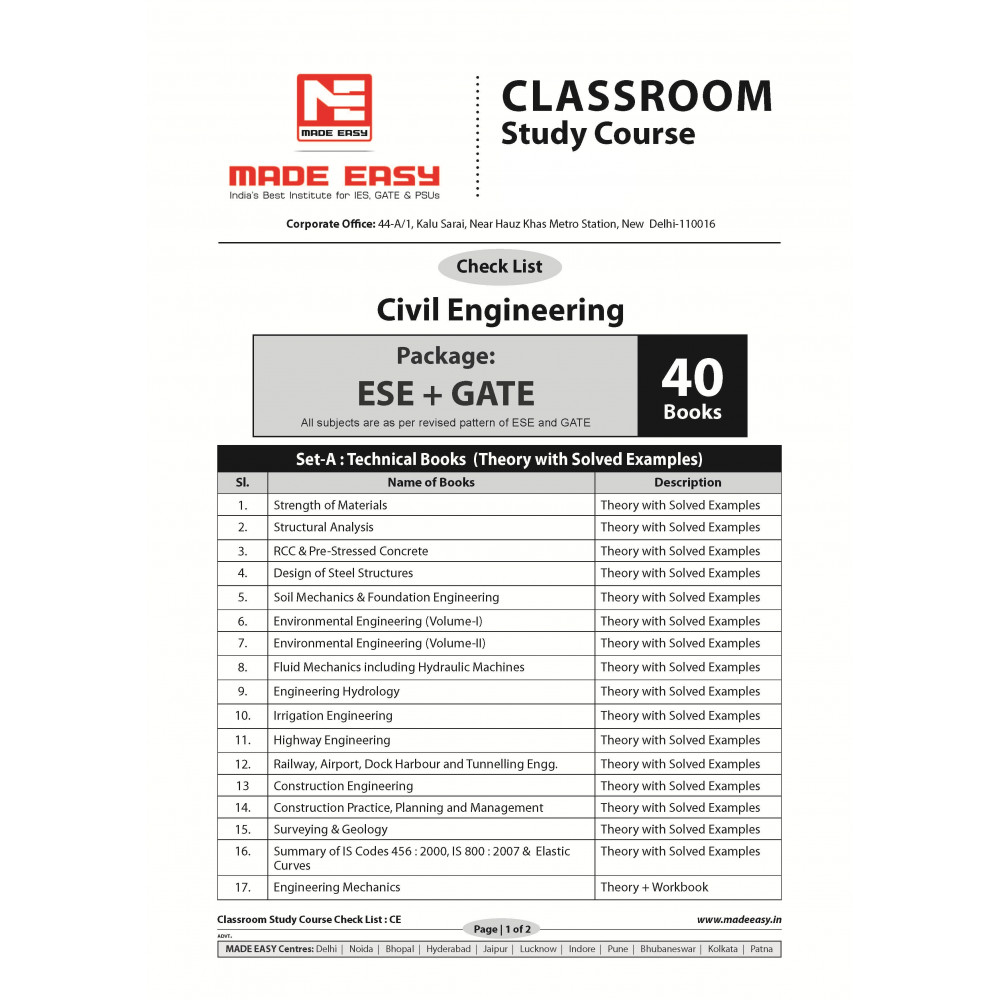 Civil Engineering Classroom Study Package Original Books - 2017: for ESE, GATE & PSUs (Set of Books-40 Made Easy)