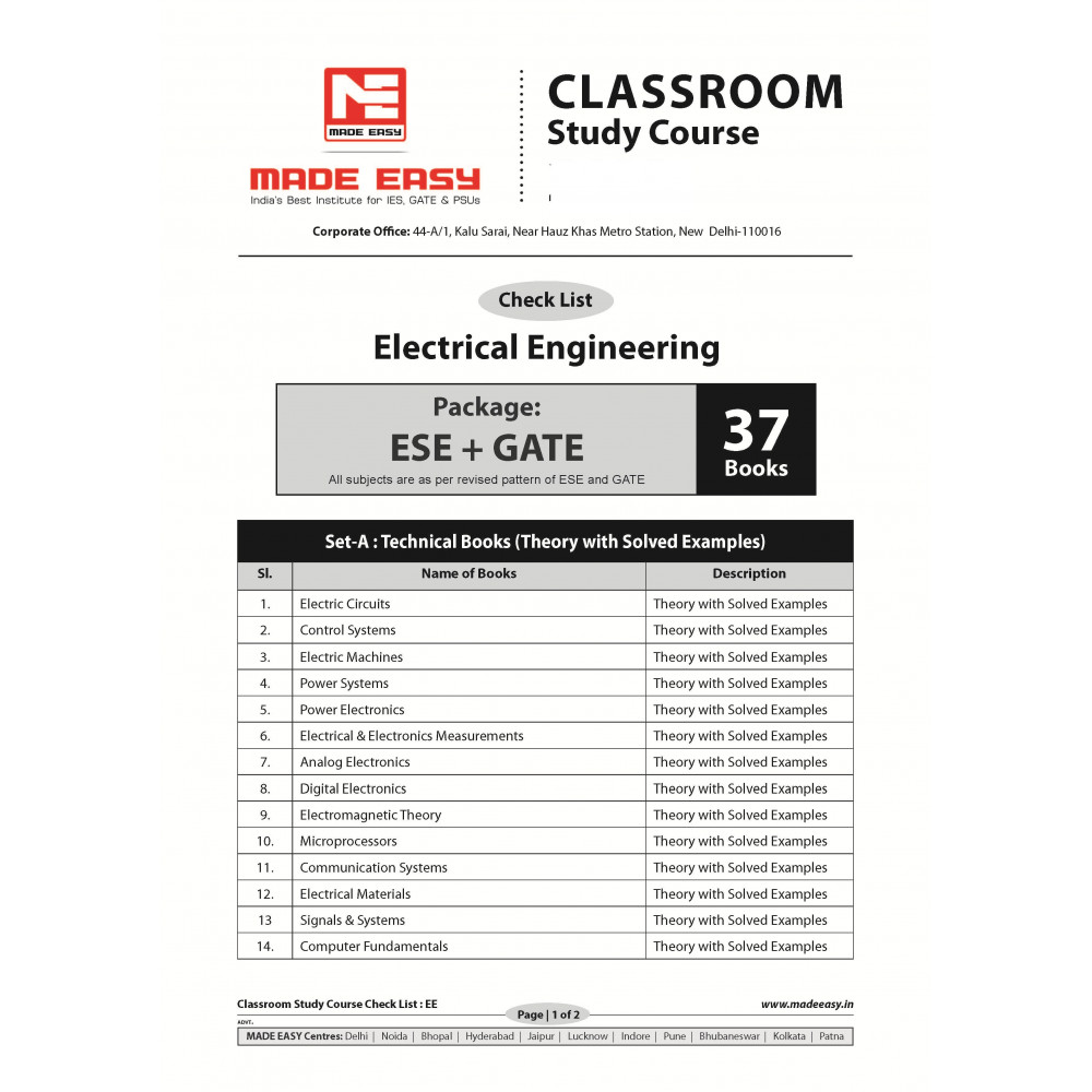 Electrical Engineering Classroom Study Package Original Books - 2019 : for ESE, GATE & PSUs (Set of Books-37 Made Easy)