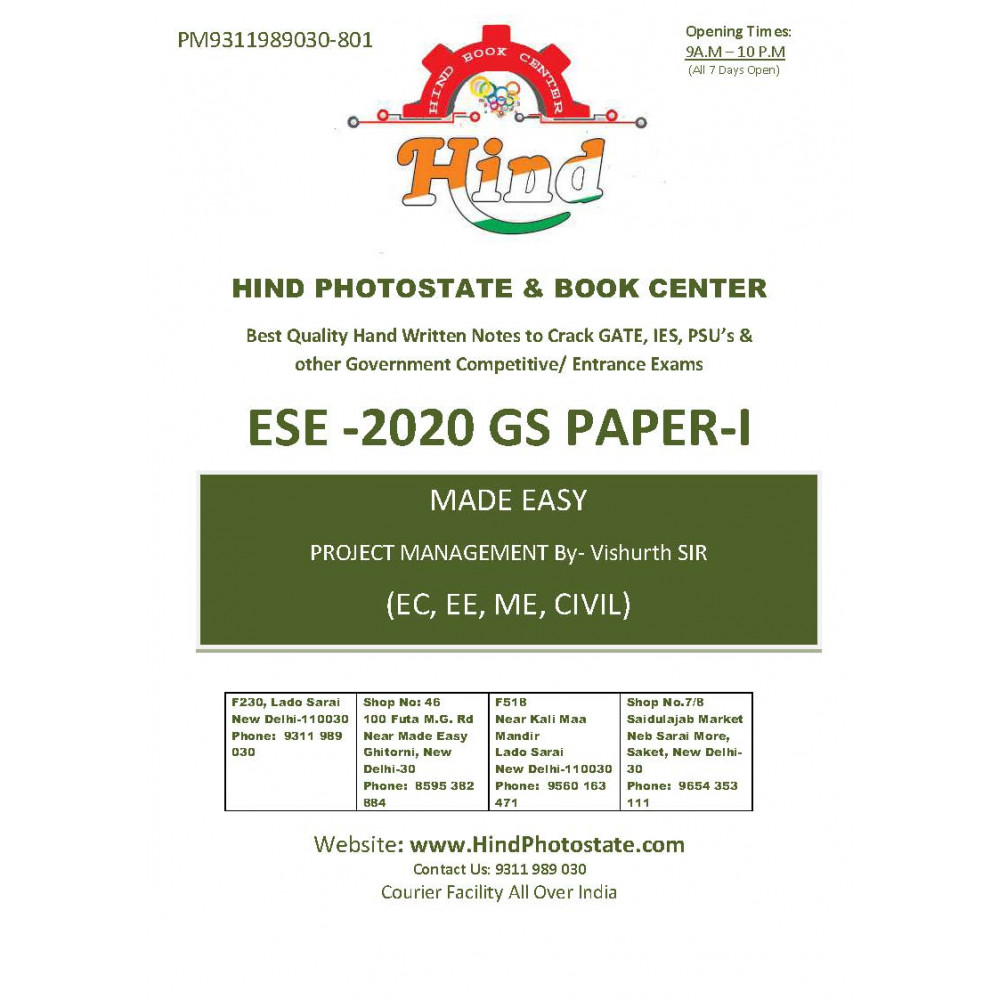 Basics of Project Management Handwritten Notes For ESE - 2020 Prelims: Paper- 1 Engineering Aptitude (By- Vishruth Sir Made Easy)