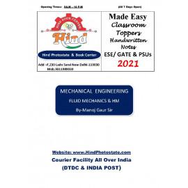 Mechanical Engineering Handwritten Notes : Fluid Mechanics & Hydrolics Machine ( By-Manoz Gaur Sir Made Easy )