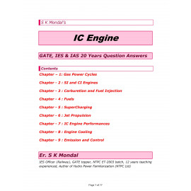 IC Engine IES GATE IAS 20 Years Question and Answers Printed Material By-Sk Mondal